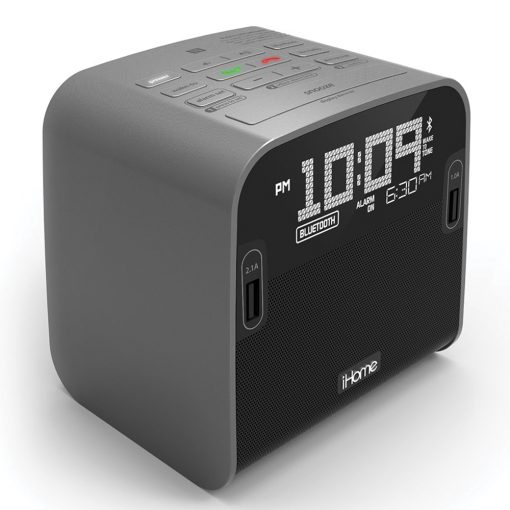 iHome HBN22GX NFC Bluetooth FM Clock Radio with Speakerphone and Dual USB Charging for hotels and motels
