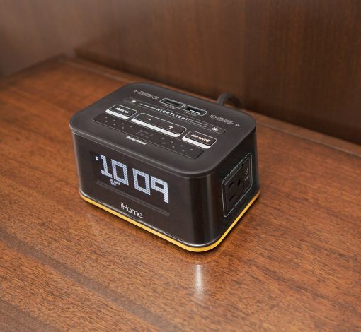 iHome HiH50 Bedside Single Day Alarm Clock with Nightlight, Dual AC Outlets and Dual USB Charging for hotels and motels